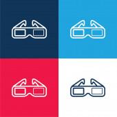3D-Brillen für das Kino blau und rot vier Farben minimales Symbol-Set