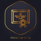 Ocenění zlaté čáry prémie logo nebo ikona