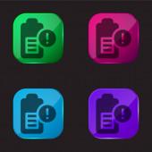 Akkumulátor 4. szintű színes üveg gomb ikon