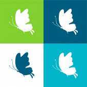 Schöne Schmetterling Silhouette Flache Vier-Farben-Minimalsymbolset