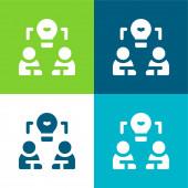 Brainstorm Lapos négy szín minimális ikon készlet