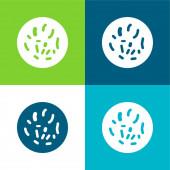 Bakterien Kreis Flache vier Farben minimales Symbol-Set