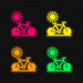 Fahrrad vier Farben leuchtenden Neon-Vektor-Symbol