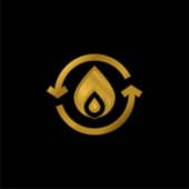 Bio Energy gold plated metalic icon or logo vector