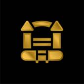 Bouncy Hrad pozlacené kovové ikony nebo logo vektor