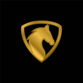 Black Horse Head In A Shield gold plated metalic icon or logo vector