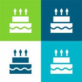 Születésnapi torta Lakás négy szín minimális ikon készlet