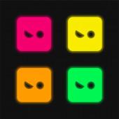 Rozzlobený čtyři barvy zářící neonový vektor ikona