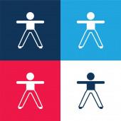 Chlapec Protahování Obě paže a nohy modré a červené čtyři barvy minimální ikona nastavena