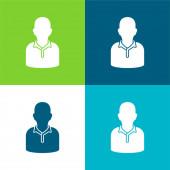 Athlete Flat four color minimal icon set