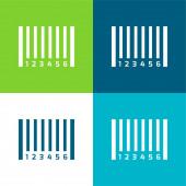 Čárový kód Flat čtyři barvy minimální ikona nastavena