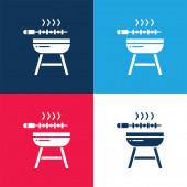 Barbeque modrá a červená čtyři barvy minimální ikona nastavena