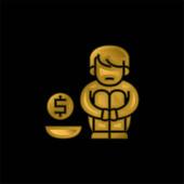 Almosen vergoldet metallisches Symbol oder Logo-Vektor