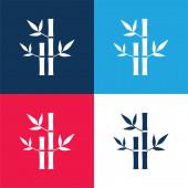 Bambusz Növények Spa kék és piros négy szín minimális ikon készlet