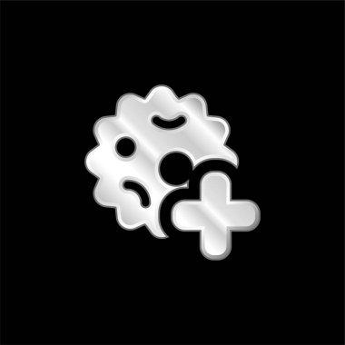 Bacteria silver plated metallic icon stock vector