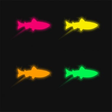 Amago Fish Shape four color glowing neon vector icon stock vector