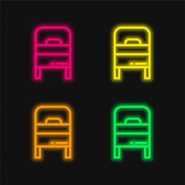 Bed four color glowing neon vector icon stock vector