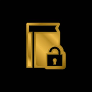 Book Protection gold plated metalic icon or logo vector stock vector