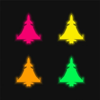 Army Airplane Silhouette four color glowing neon vector icon
