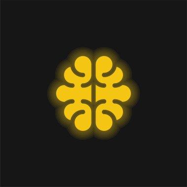 Brain yellow glowing neon icon stock vector