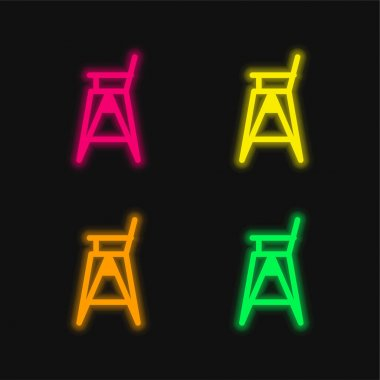 Baby Chair four color glowing neon vector icon stock vector