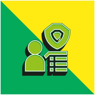 Benefit Green and yellow modern 3d vector icon logo stock vector