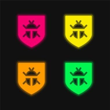 Antivirus four color glowing neon vector icon stock vector