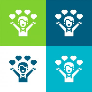 Affection Flat four color minimal icon set stock vector