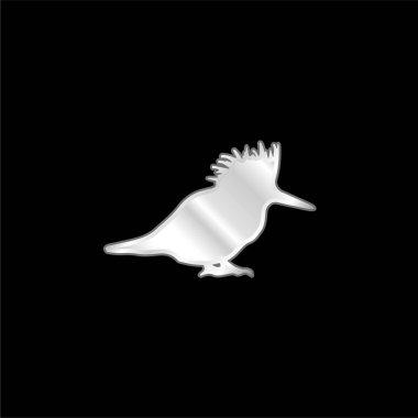 Bird Silhouette silver plated metallic icon stock vector