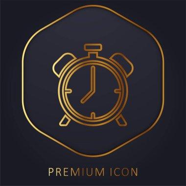 Alarm Saati altın çizgi premium logosu veya simgesi
