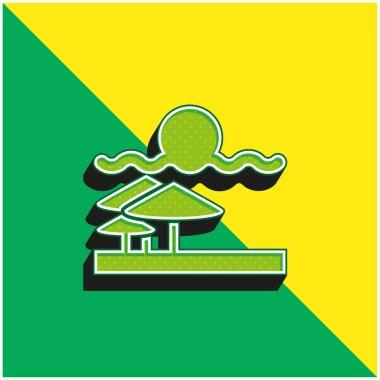 Beach View Green and yellow modern 3d vector icon logo stock vector