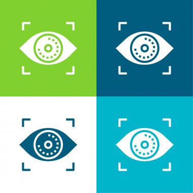 Biometric Recognition Flat four color minimal icon set stock vector