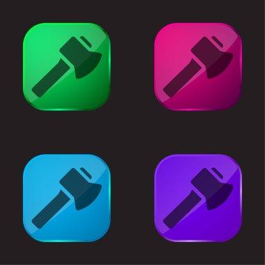 Axe four color glass button icon stock vector