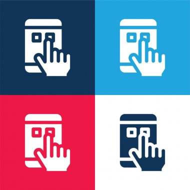 App blue and red four color minimal icon set stock vector