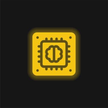 Yapay Zeka sarı parlak neon simgesi