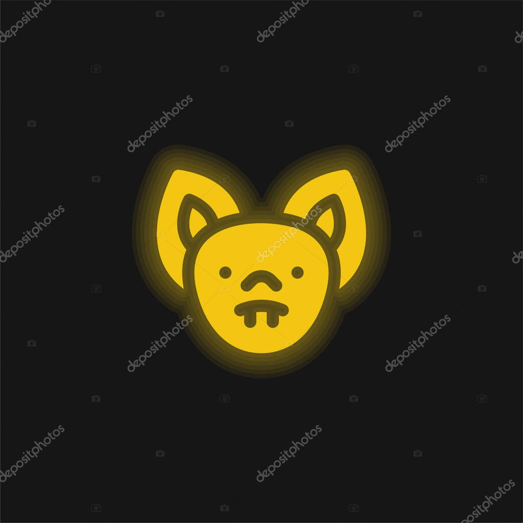 Bat yellow glowing neon icon stock vector