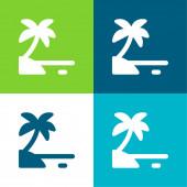 Beach Flat four color minimal icon set