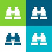 Binokuláry Flat čtyři barvy minimální ikona nastavena