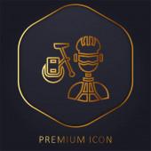 Biker zlatá čára prémie logo nebo ikona