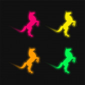 Big Horse Stand Up Pose On Back Paws four color glowing neon vector icon