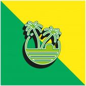Strand Zöld és sárga modern 3D vektor ikon logó