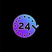 24 Stunden blaues Gradientenvektorsymbol