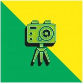 Action Camera Zöld és sárga modern 3D vektor ikon logó