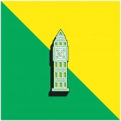 Big Ben Green a žluté moderní 3D vektorové logo