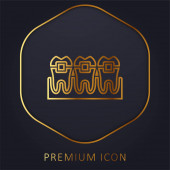 Braces golden line premium logo or icon