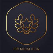 Díj arany vonal prémium logó vagy ikon