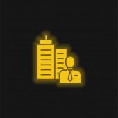 Főnök sárga izzó neon ikon