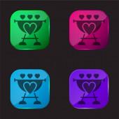 Barbeque čtyři barvy skleněné tlačítko ikona