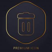 Bin fedéllel arany vonal prémium logó vagy ikon