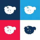 Blowfish blau und rot vier Farben minimales Symbol-Set